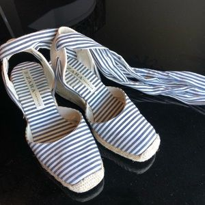 Zara Striped Lace Up Espadrilles